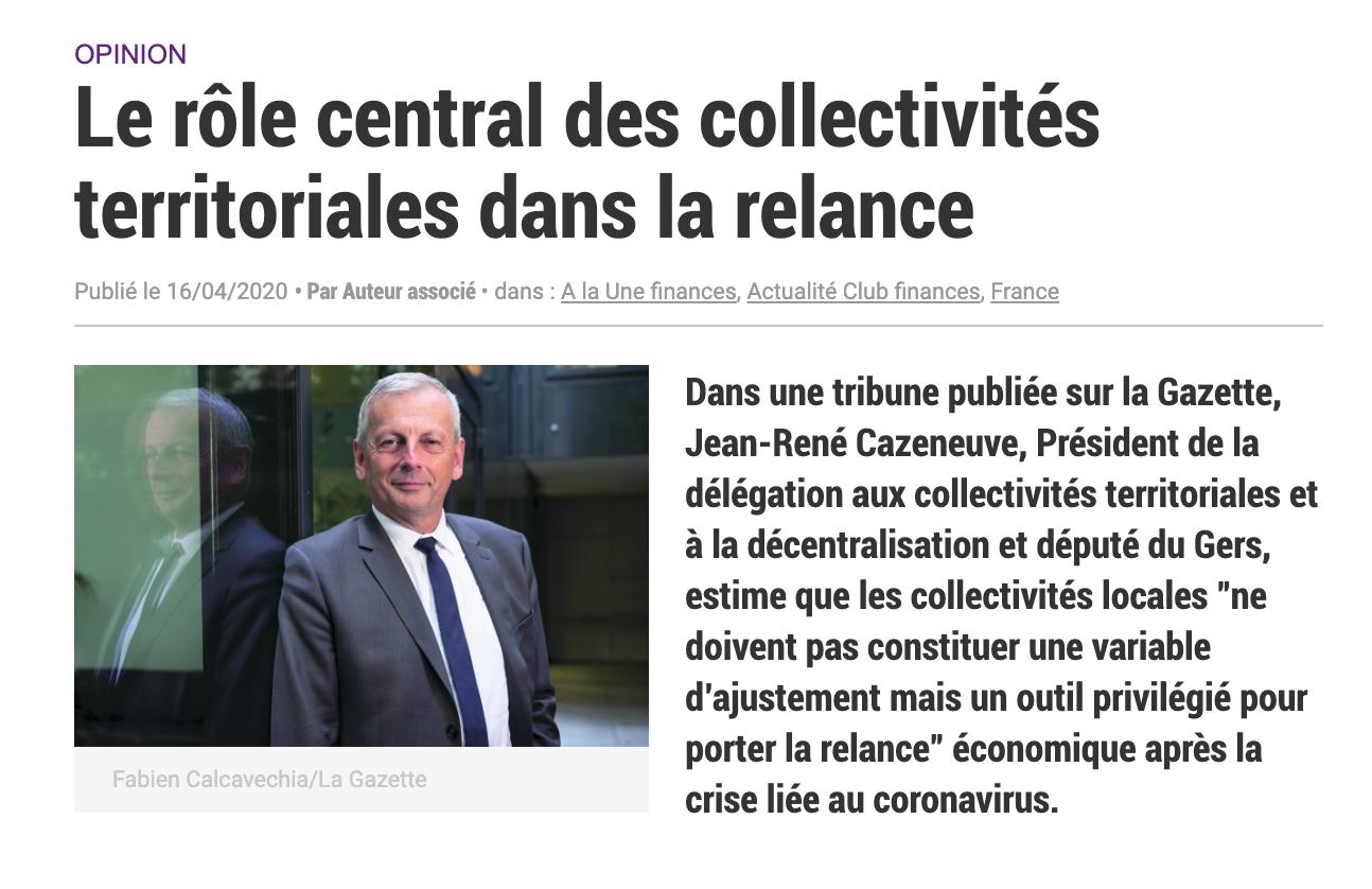 COVID-19 - Tribune : Le rôle central des collectivités territoriales dans la relance
