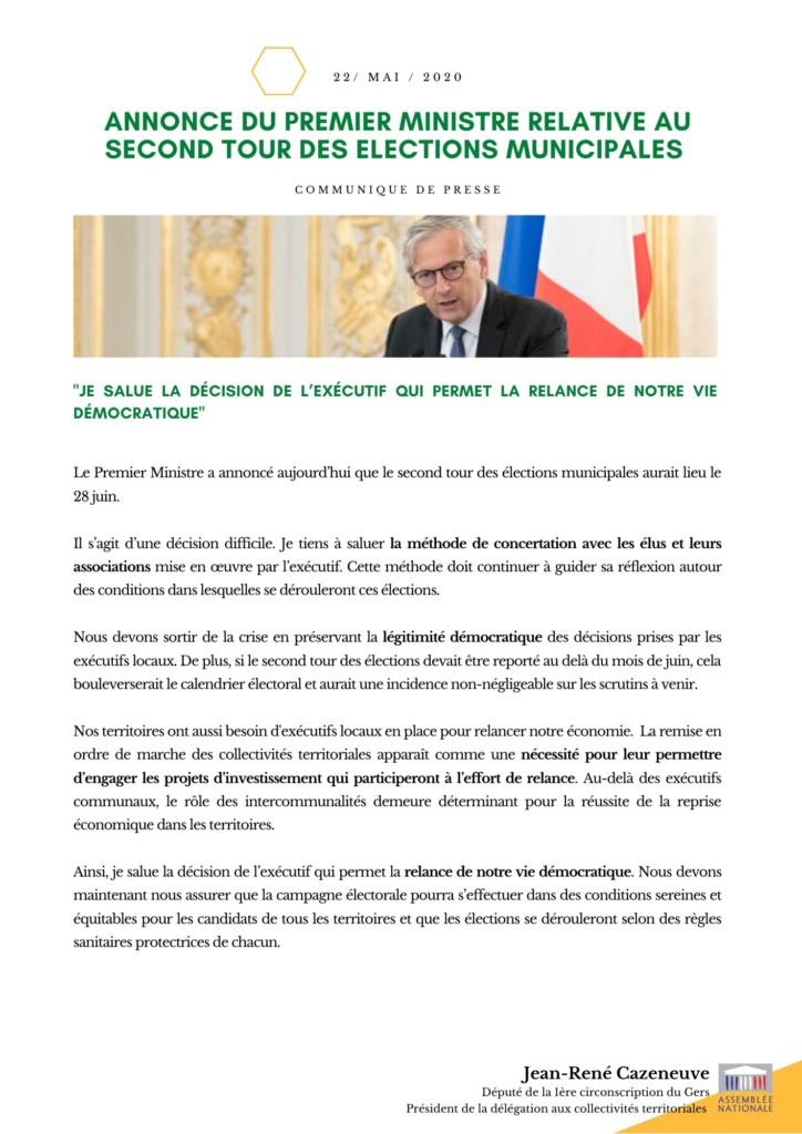 Communiqué de presse : Annonce du Premier ministre relative aux élections municipales