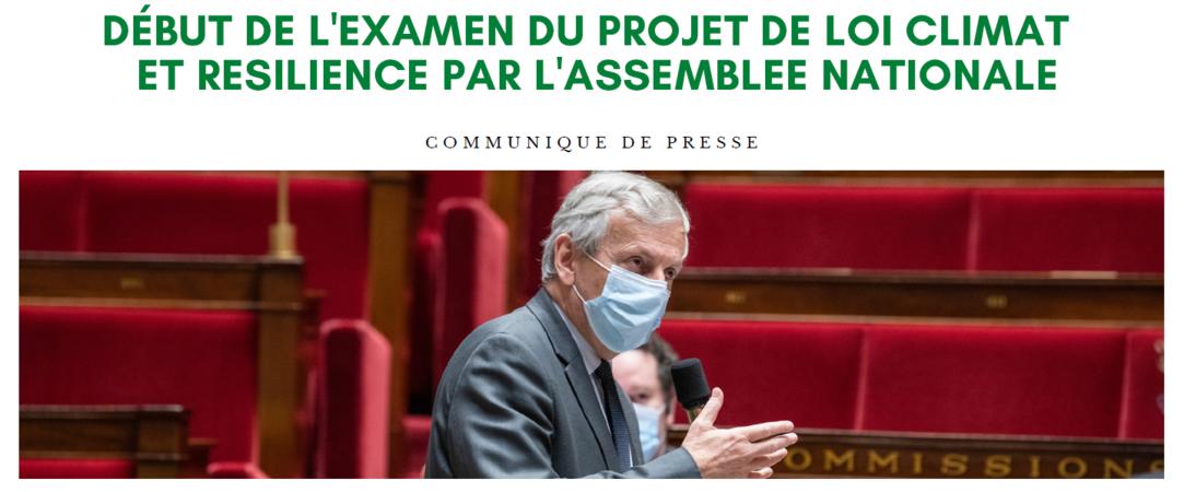 Début de l'examen du projet de loi Climat et Résilience