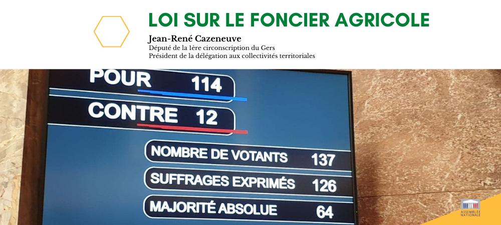 Vote de la loi portant mesures d'urgences pour assurer la régulation de l'accès au foncier agricole