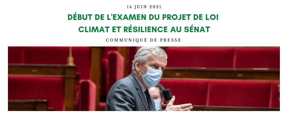 Début de l'examen du projet de loi Climat et Résilience au Sénat