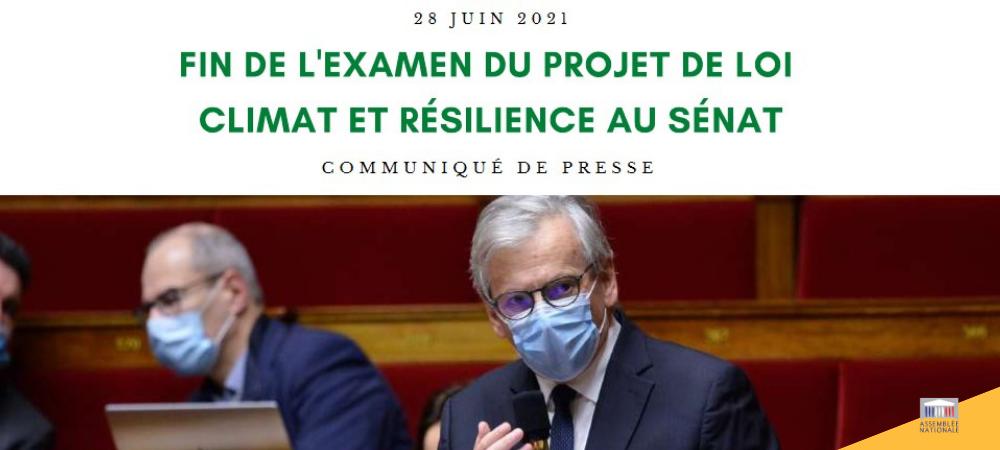 Fin de l'examen du projet de loi Climat et Résilience au Sénat